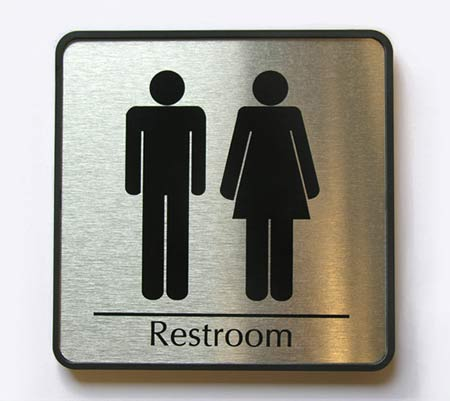 restroom door signs and office door signs at